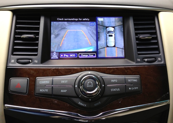The 360-degree backup-camera screens indicate where the QX80 is headed and even show the angle of the front wheels.